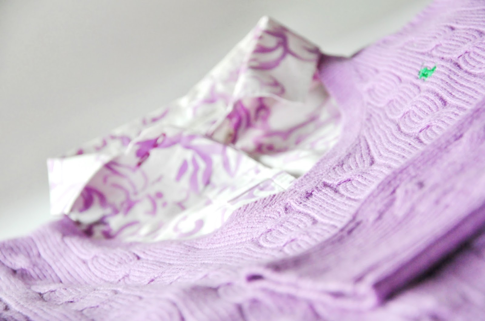 lilac pullover white shirt