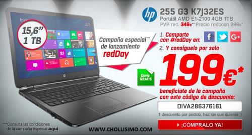 HP 255 G3 K7J32ES, promoción redcoon