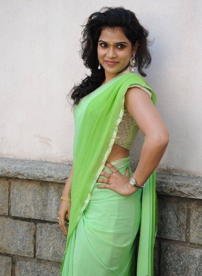 Actress Bhargavi Latest Cute Hot Parrot Green Saree Navel Show Spicy Photos Gallery