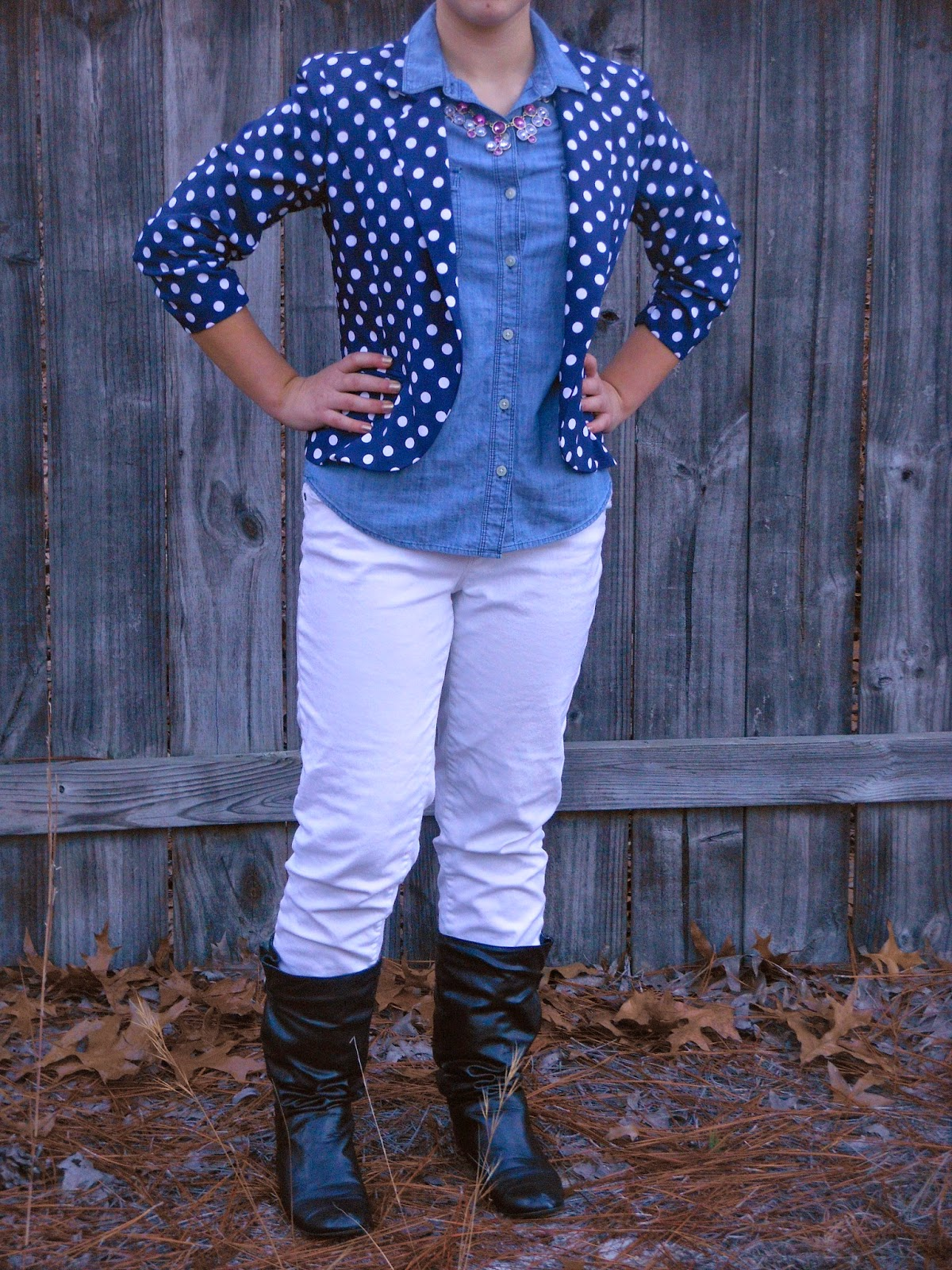 Chambray and Polka Dots. Polka dot blazer, chambray, white jeans, black boots, purple necklace.