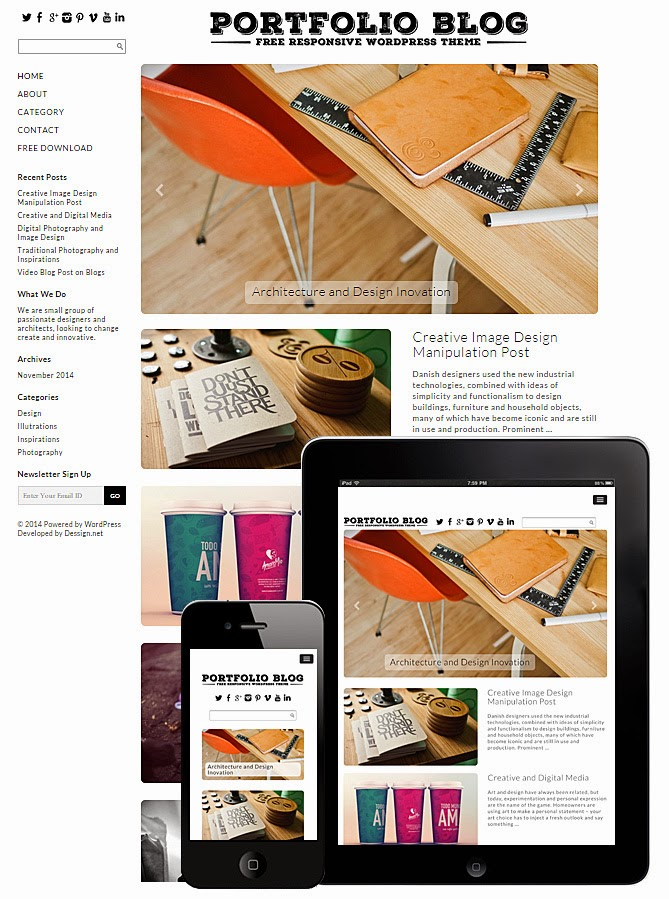 Download Portfolio Blog Theme - Free Wordpress Responsive Portfolio Theme 2015