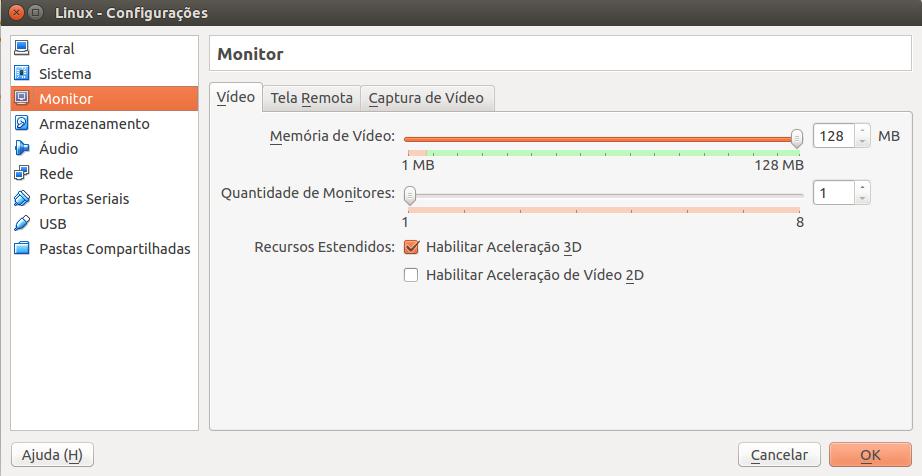 memória de vídeo do virtualbox