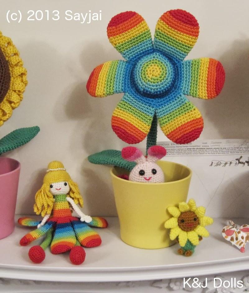 Crocheted Rainbow Flower Doll