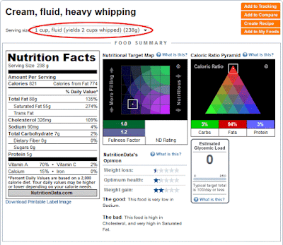 Heavy cream nutrition data.