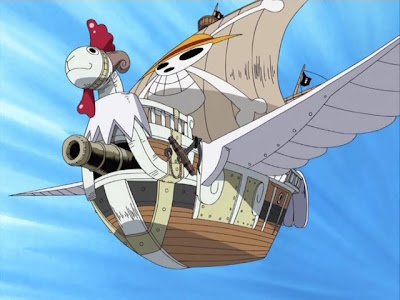 Topi Jerami One Piece Going Merry Terbang