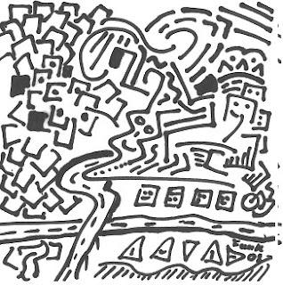 Zeichnung Bild / painting picture : Stadtlandschaft / urban landscape