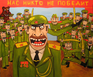 Soldiers dancing and singing about Red Army invincibility, fruit salad on chest, drawings, funny pictures, comics