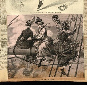 Newspaper illustration of ladies in the rigging