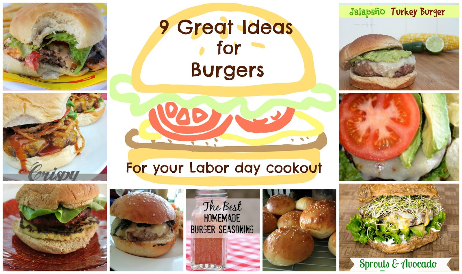 9 Great Ideas for Burgers (for your Labor Day cookout):  A Great Idea Thursdays roundup of 9 burger recipes for your Labor Day cookout (or any time)