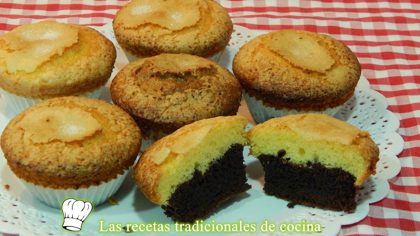 magdalenas con chocolate o magdalenas bicolor