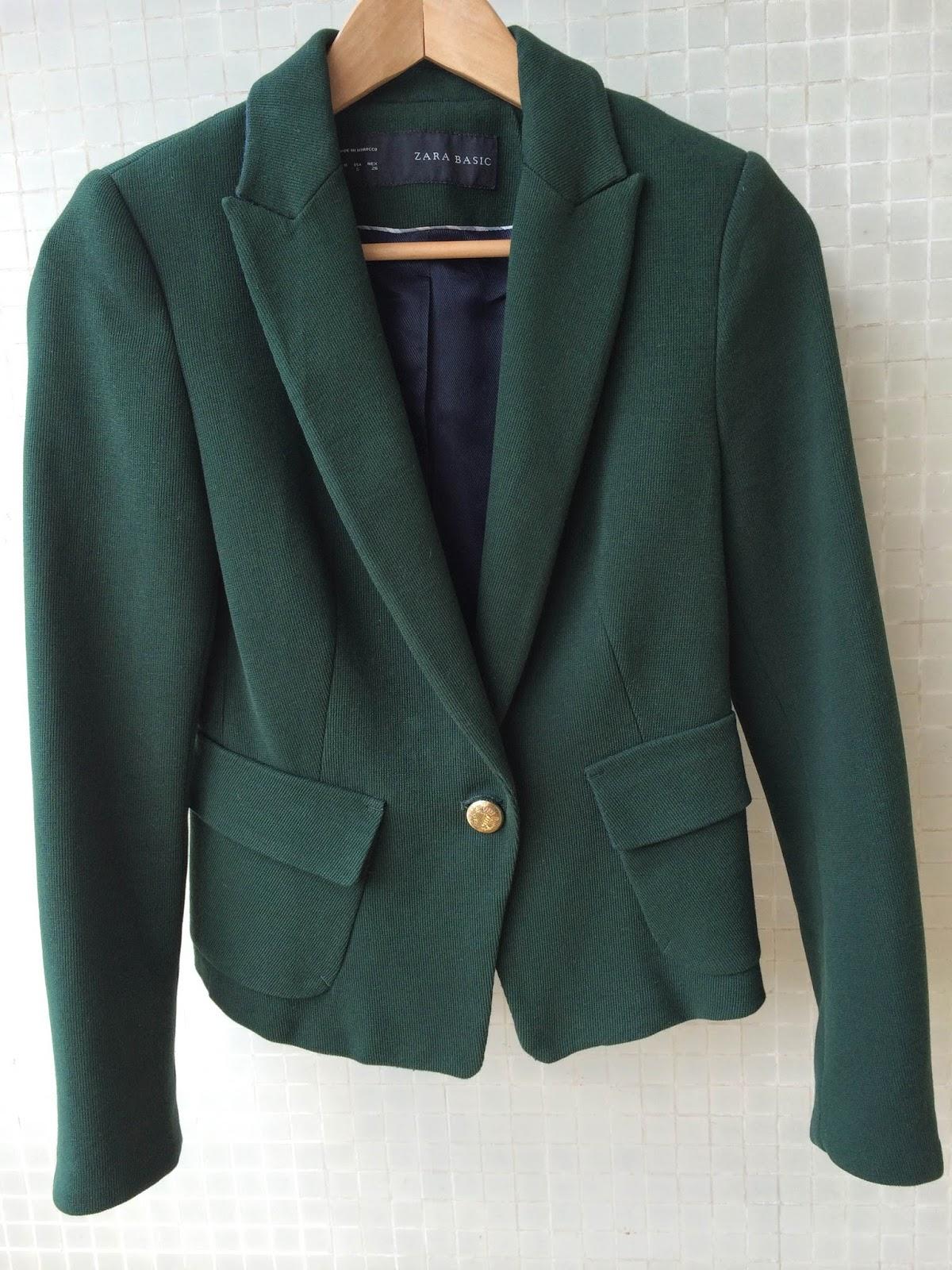blazer verde zara para venda