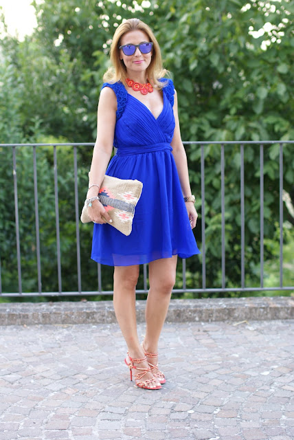 summer dress, cobalt blue chiffon dress, aztec clutch, royal blue dress, Fashion and Cookies