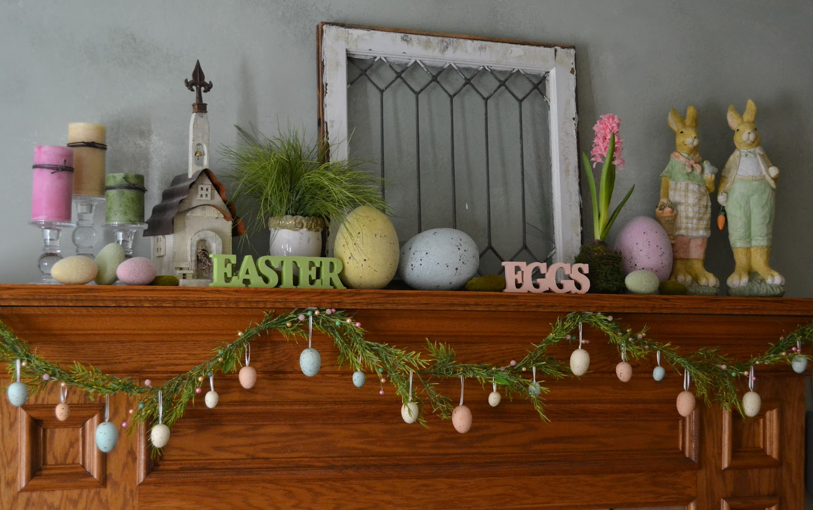 Corner of plaid and paisley easter mantel Spring decorating ideas