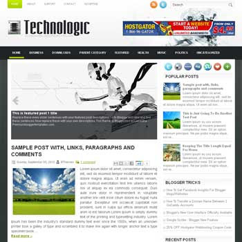 Technologic blogger template. free blogspot template magazine style