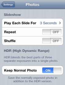 """How to stop HDR camera mode storing """"duplicate"""" pictures on iPhone 4"""