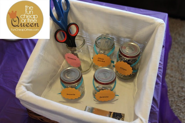 Tons of ideas for a fun cheap or free baby shower or party fun i used washed baby food jars to display little jewels pearls and to organize the scissors glue sticks alligator clips etc forumfinder Images