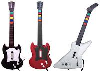 Imagen con los controladores de guitarra para Guitar Hero