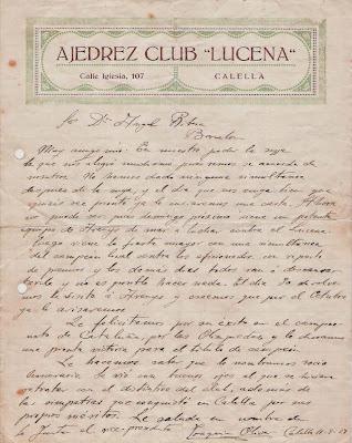 Misiva del Club Ajedrez Lucena en 1928