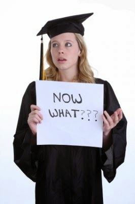 "job after graduation, holding a sign that says ""now what?"""