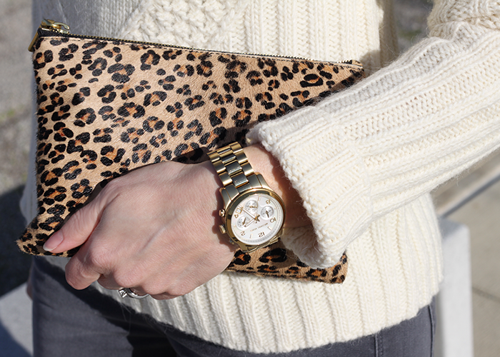 leopard clutch, tall boots, ootd, fashionblogger, how to wear tall boots, michael kors watch