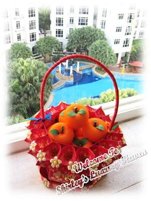 chinese new year mandarin orange ang pow basket