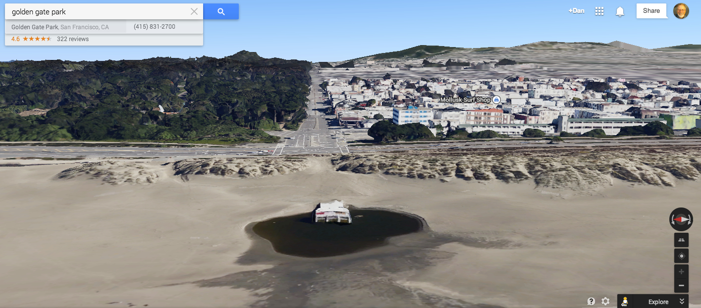 San Francisco Neighborhood Map Google%0A Same location  but this time in an Earth view  tipped and rotated to see  the front  Note the grate