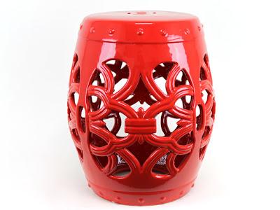 Red Ceramic Garden Stool