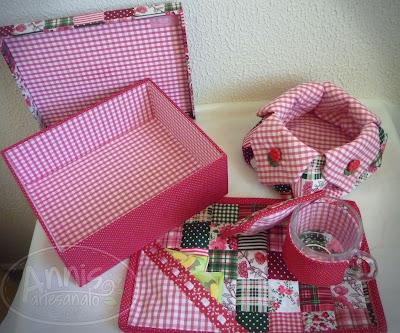 annis artesanato caixa encapada com tecido e kit mug rug