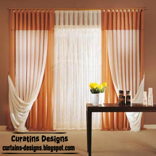 Modern orange tab curtain design french curtain for Modern kitchen curtains ideas
