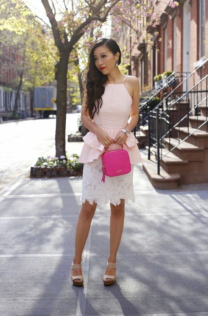 Lulus backless peplum top, date night outfit, hermes bracelet, shop the mint skirt, lace skirt, kate spade bag, lulus wedges, baublebar rings, Baublebar earrings, fashion blog, spring outfit, nubra outfit