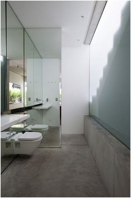 Bathrooms with wooden decks and mirrors