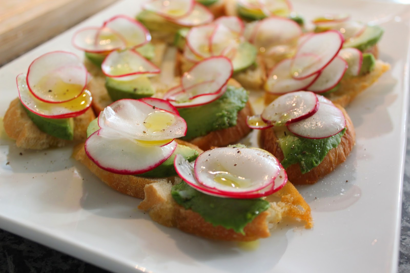 Radish and Avocado Tartines