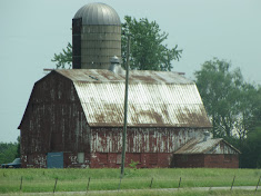 Old Red Barn withTin Roof and Silo