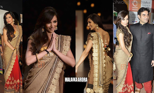 Malaika Arora Style Lakme Golden And Peach Bollywood Saree