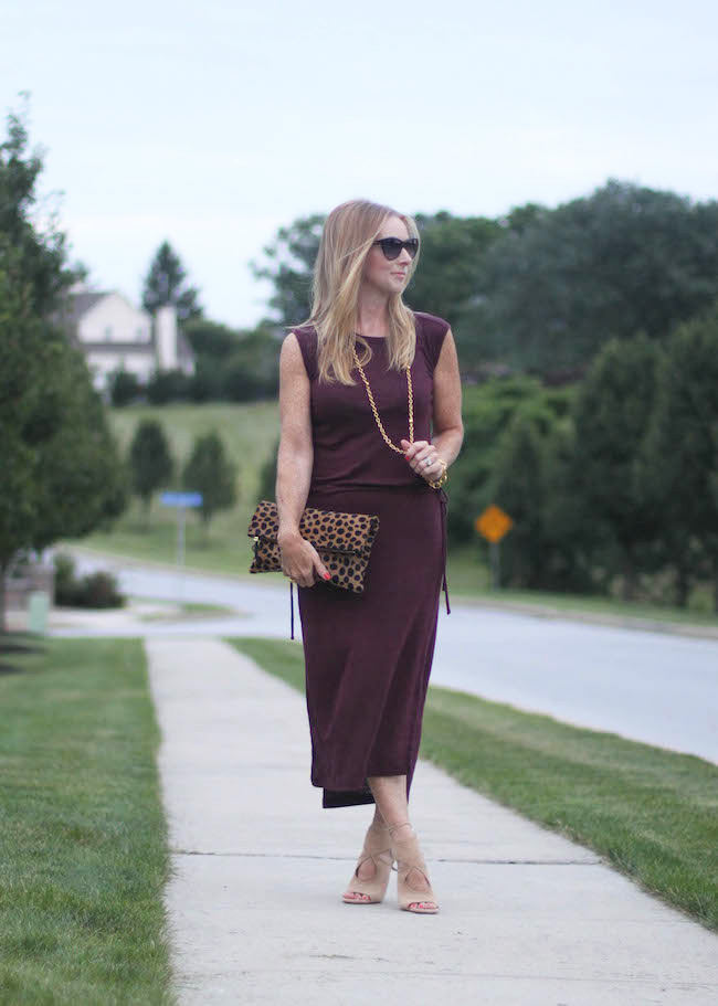gap dress, saint laurent sunglasses, julie vos necklace, clare v clutch, aquazurra heels