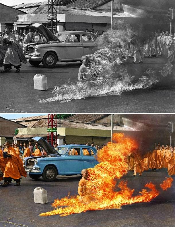 Auto imolação de Thich Quang Duc - manipulação digital - Sanna Dullaway