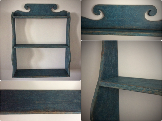 Reproduction Hanging Shelf in Blue Distressed Paint