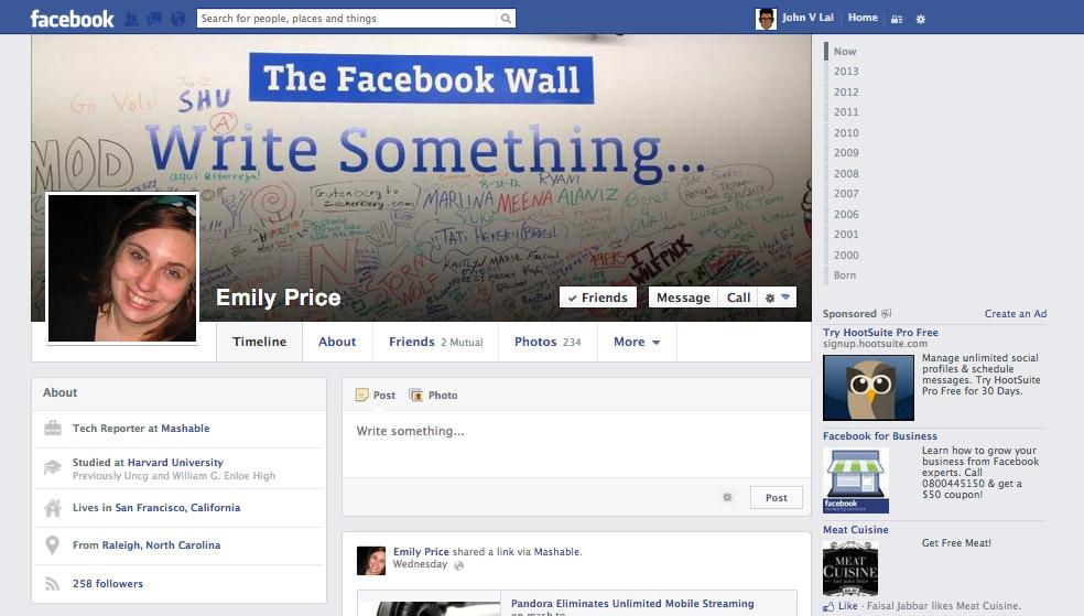 Mengintip Desain Timline Baru Facebook 2013