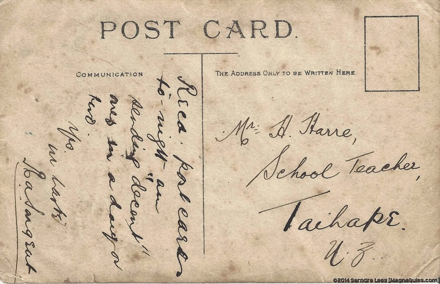 reverse of post card
