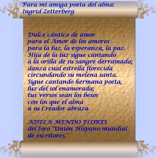Poema que me dedicó la poeta Adela Mendo en Unión Hispana de escritores