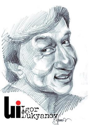 portrait caricature de Jackie Chan acteur (hachures croisées)