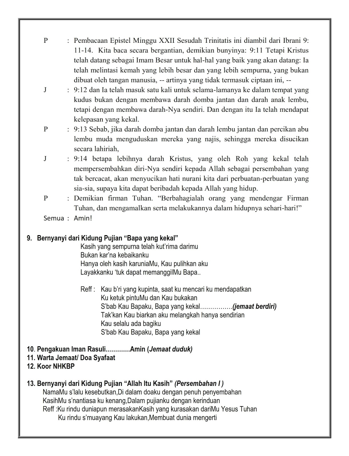 Tata Ibadah Minggru Sore 01 November 2015