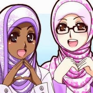 kartun muslimah kacamata hijab