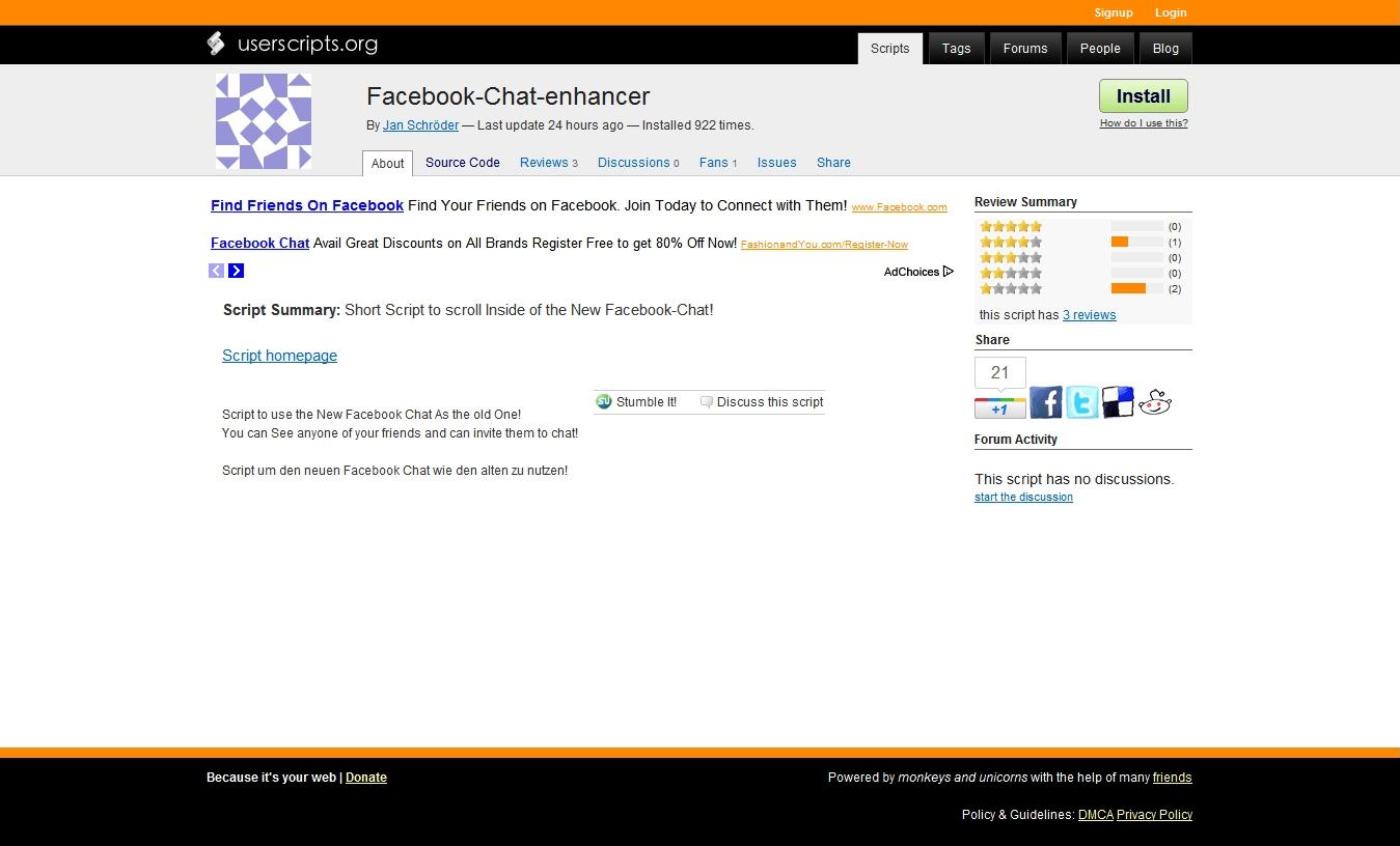 facebook chat script for website