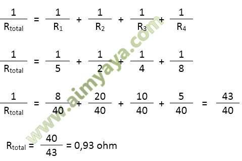 Gambar: Contoh perhitungan hambatan total pada rangkaian paralel