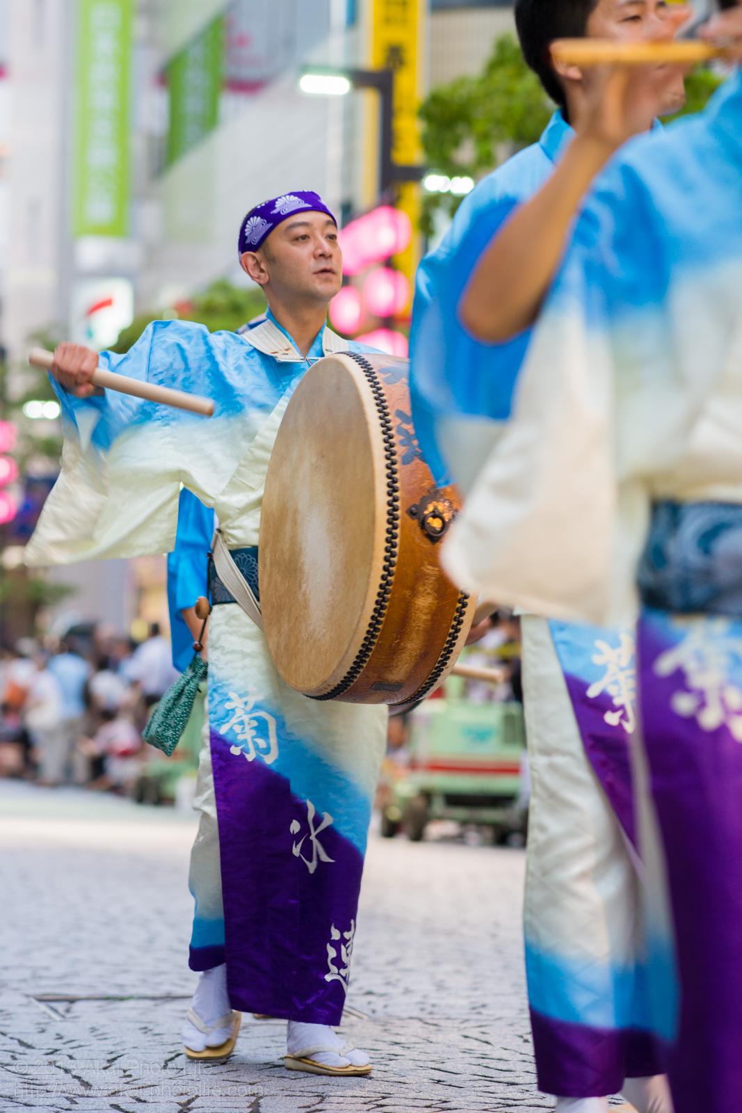 三鷹阿波踊り、菊水会菊水連の鳴り物(三鷹シルバー連の応援)