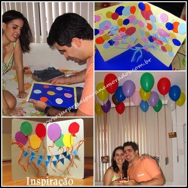 surpresa no quarto com balões coloridos