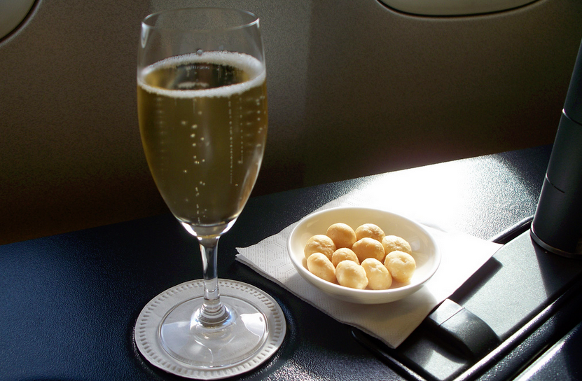 Champagne in British Airways First Class
