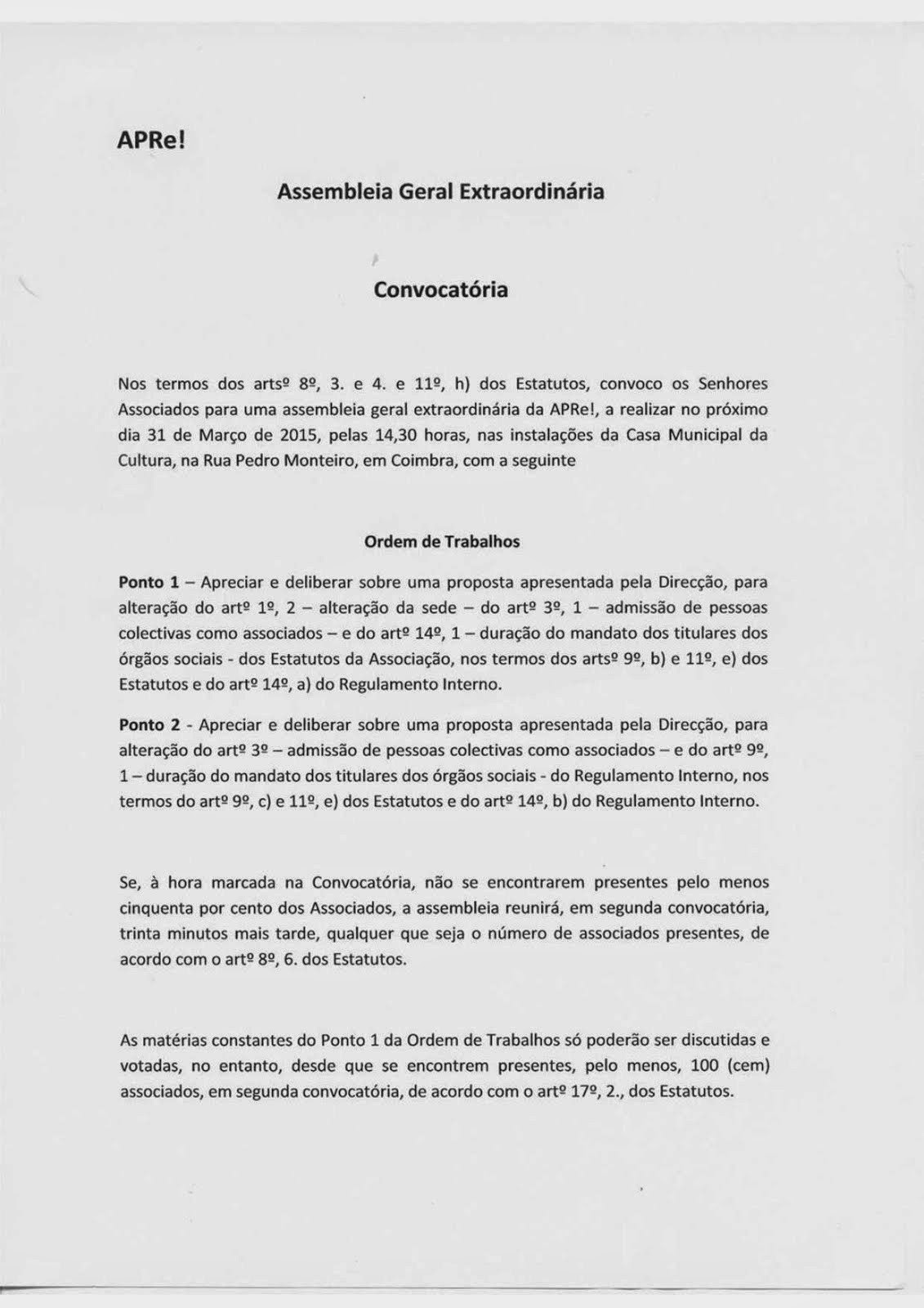 Convocatória para Assembleia Geral Extraordinária da APRe!