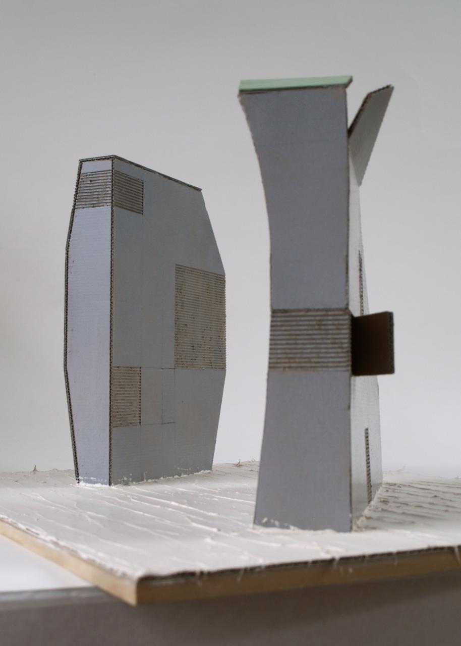 'Twee gebouwen zonder opdrachtgever', 2010/11, karton, kit en verf